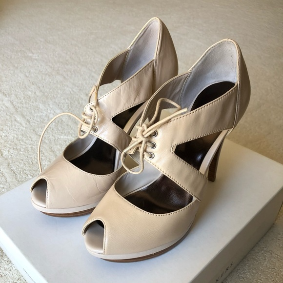 Bakers Shoes Nude Alea Peeptoe Heels 7